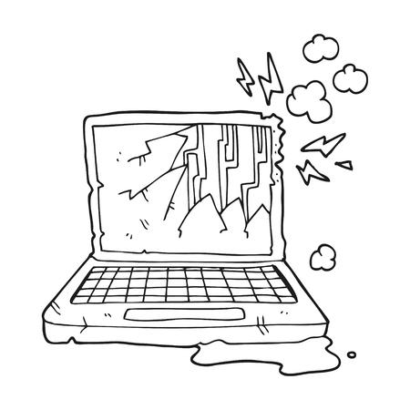broken computer: freehand drawn black and white cartoon broken computer