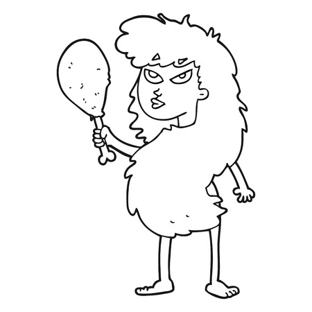 stoneage: freehand drawn black and white cartoon cavewoman with meat
