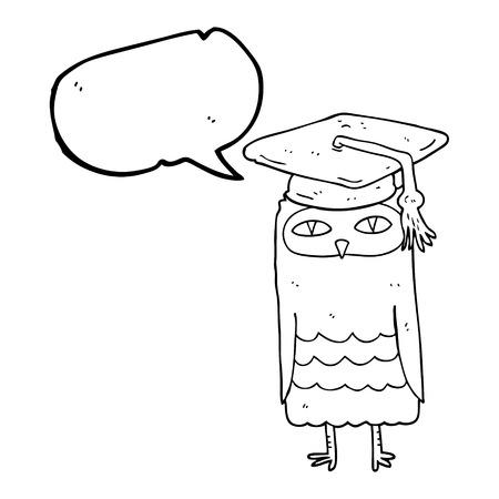 wise owl: freehand drawn speech bubble cartoon wise owl