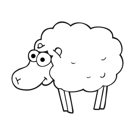 Funny Freehand Drawn Black And White Cartoon Sheep Illustration