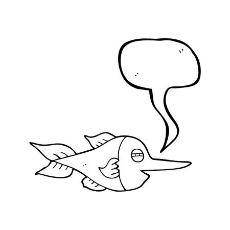 pez espada: a mano alzada discurso elaborado el pez espada burbuja de dibujos animados