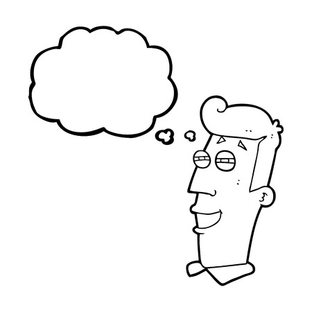 grinning: freehand drawn thought bubble cartoon grinning man