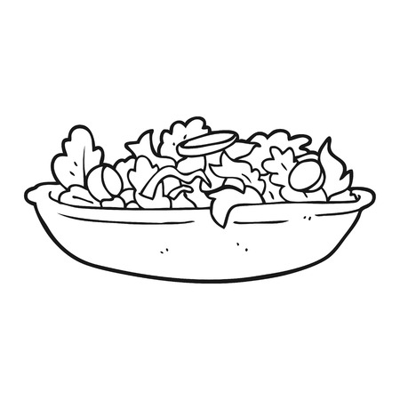 freehand drawn black and white cartoon salad