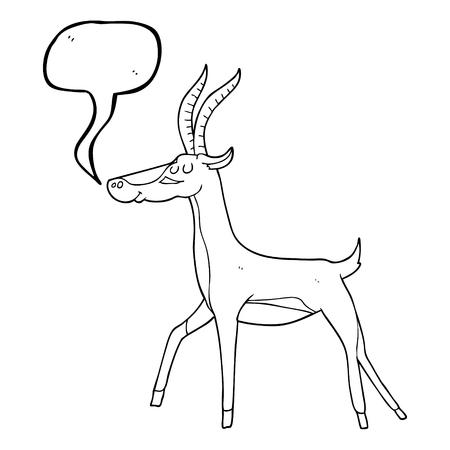gazelle: freehand drawn speech bubble cartoon gazelle Illustration