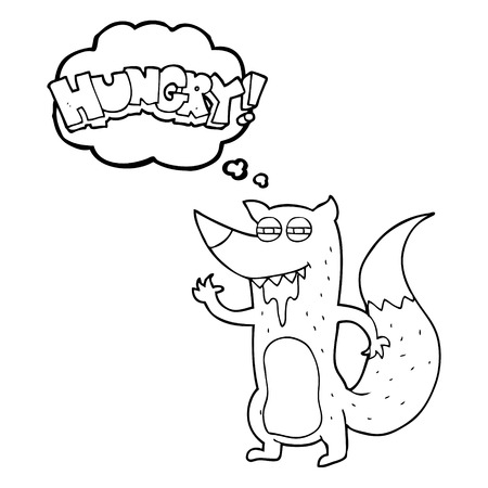hungry: freehand drawn thought bubble cartoon hungry wolf