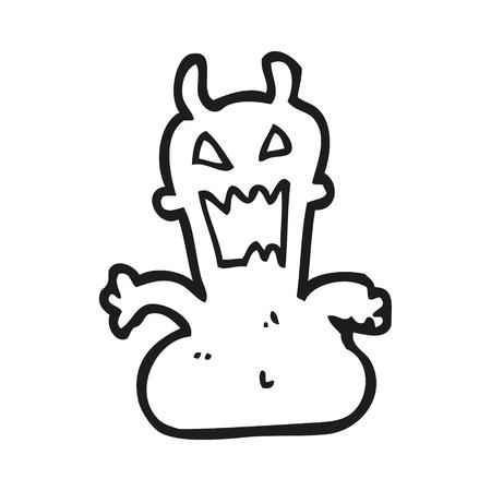 alien clipart: freehand drawn black and white cartoon little alien