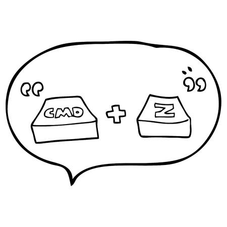function key: freehand drawn speech bubble cartoon command Z function