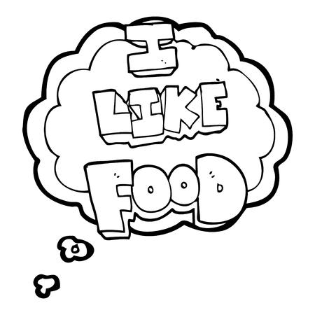 i like: freehand drawn thought bubble cartoon i like food symbol