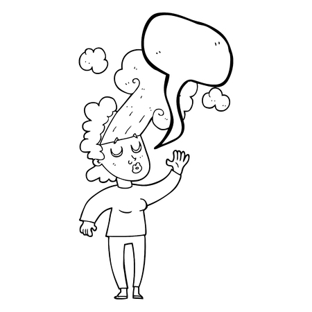 letting: freehand drawn speech bubble cartoon woman letting off steam