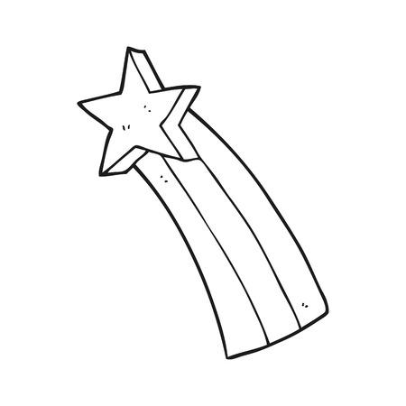 black star: freehand drawn black and white cartoon shooting star Illustration