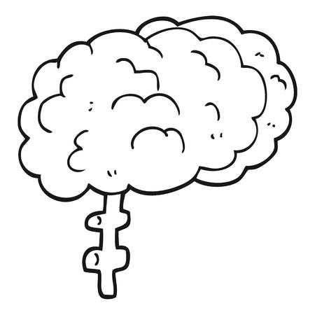 cerebro blanco y negro: dibujado a mano alzada blanco y negro de dibujos animados de cerebro