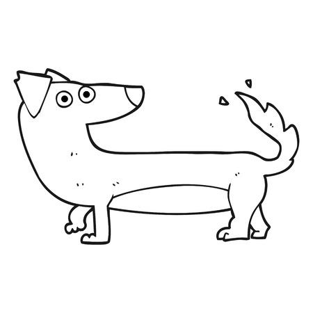 cartoon dog: freehand drawn black and white cartoon dog Illustration