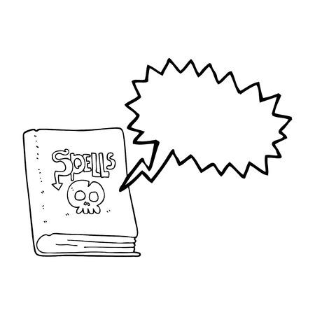 spell: freehand drawn speech bubble cartoon spell book