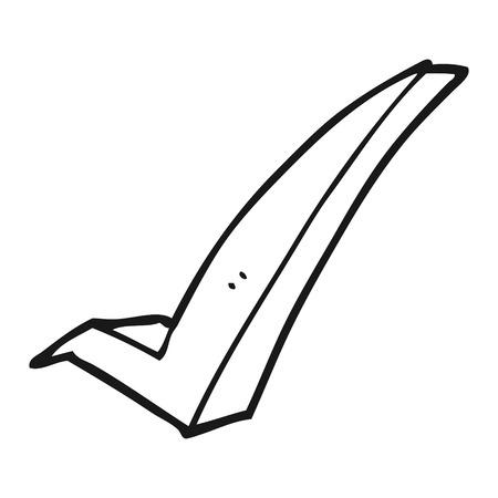 cartoon tick: freehand drawn black and white cartoon tick symbol
