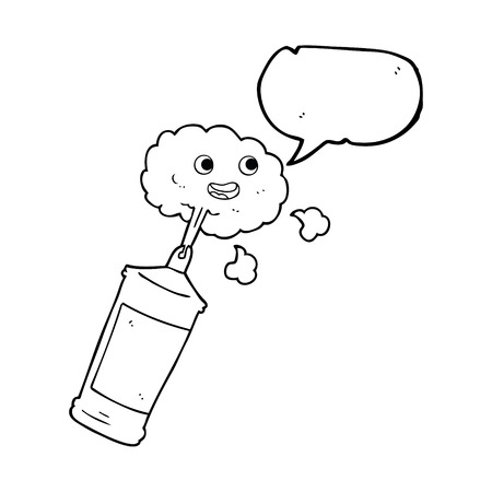 whipped: freehand drawn speech bubble cartoon spraying whipped cream Illustration