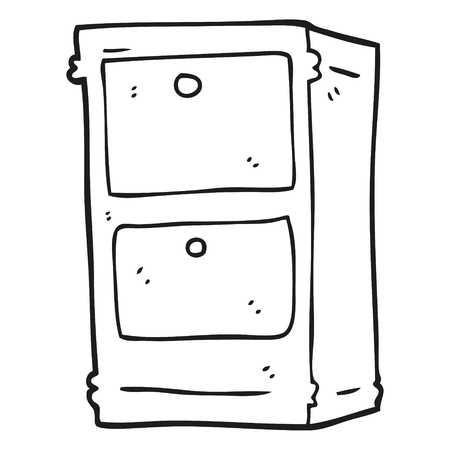 chest of drawers: freehand drawn black and white cartoon chest of drawers