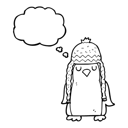 robin: freehand drawn thought bubble cartoon robin wearing winter hat Illustration