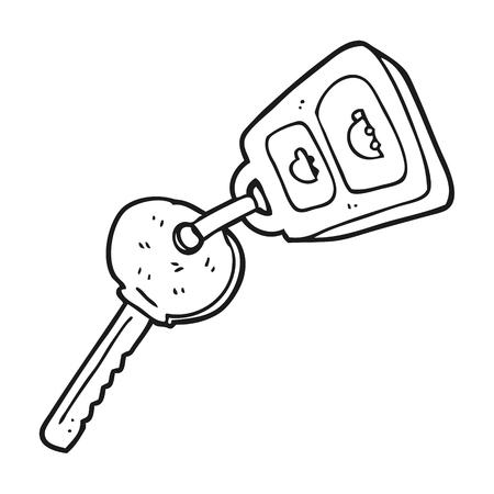 hand key: freehand drawn black and white cartoon key
