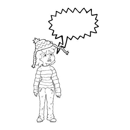 sad teenage girl: freehand drawn speech bubble cartoon teenager Illustration