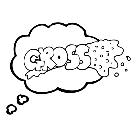 gross: gross freehand drawn thought bubble cartoon Illustration