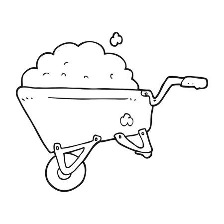a mano libera disegnato cartoni animati carriola in bianco e nero pieno di sporcizia Vettoriali