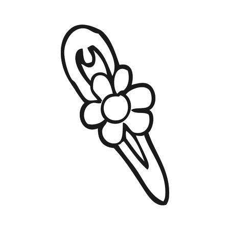 hair clip: freehand drawn black and white cartoon hair clip Illustration