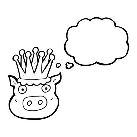 freehand drawn thought bubble cartoon crowned pig