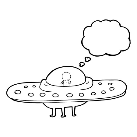 alien clipart: freehand drawn thought bubble cartoon flying saucer