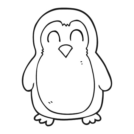 christmas robin: freehand drawn black and white cartoon christmas robin Illustration