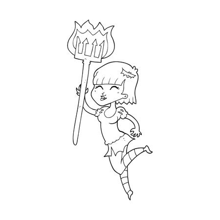 devil girl: freehand drawn black and white cartoon devil girl