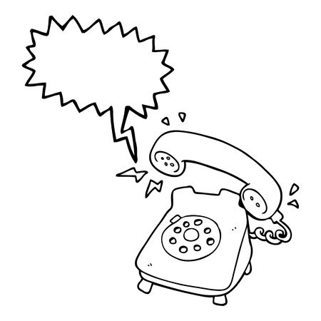 ringing: freehand drawn speech bubble cartoon ringing telephone Illustration