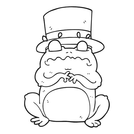 wealthy: freehand drawn black and white cartoon wealthy toad