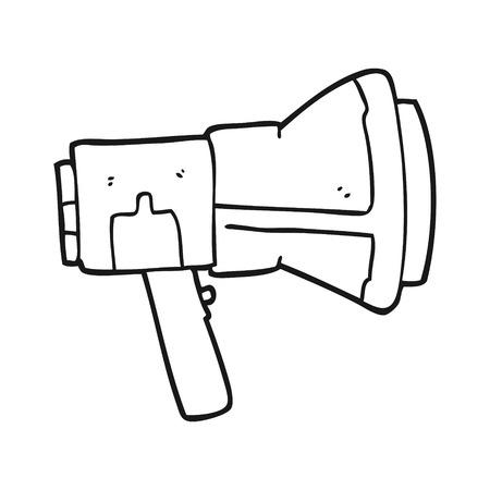 loudhailer: freehand drawn black and white cartoon megaphone Illustration