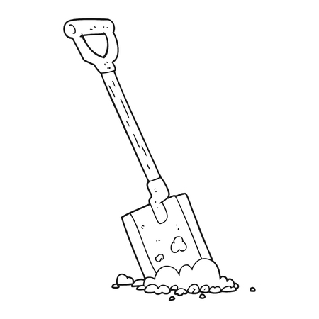 shovel in dirt: freehand drawn black and white cartoon shovel in dirt Illustration