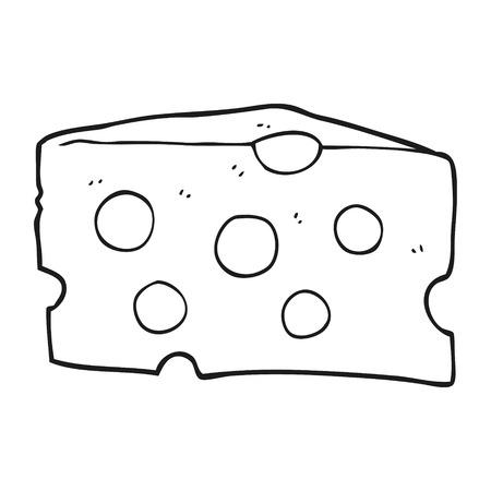 黒と白の漫画チーズをフリーハンド描画