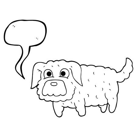 small dog: freehand drawn speech bubble cartoon small dog Illustration
