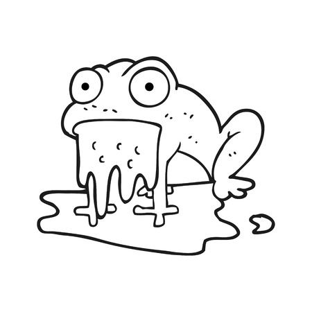gross: freehand drawn black and white cartoon gross little frog