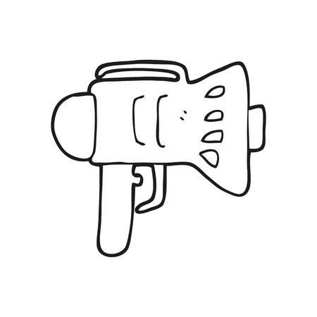 loud hailer: freehand drawn black and white cartoon loud hailer