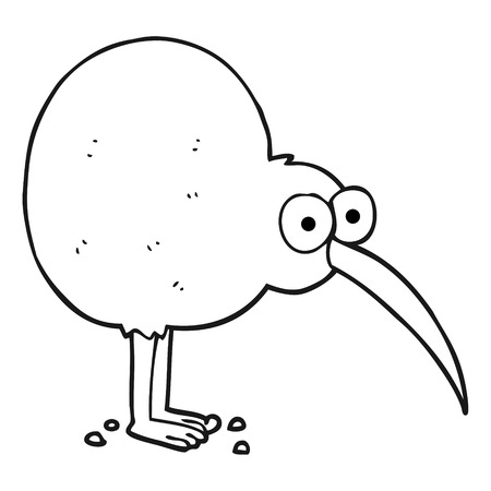 freehand drawn black and white cartoon kiwi Illustration