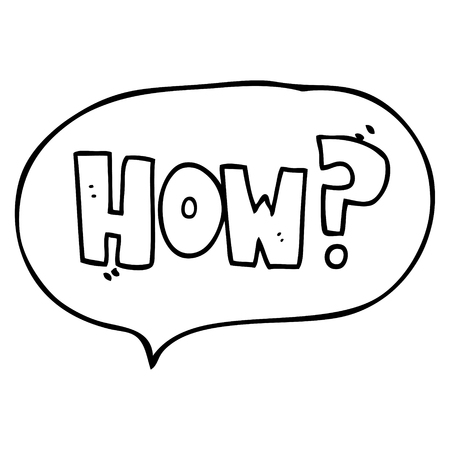 how to: freehand drawn speech bubble cartoon how? sign