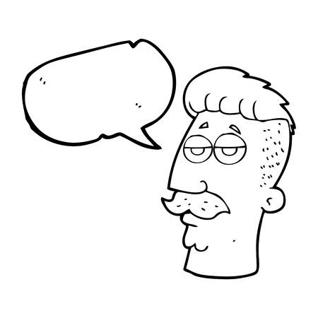 hair cut: freehand drawn speech bubble cartoon man with hipster hair cut