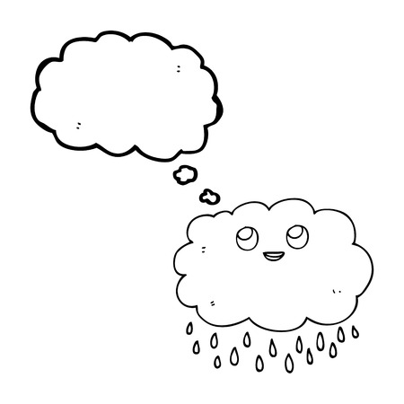Freehand Drawn Thought Bubble Cartoon Raincloud Royalty Free