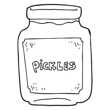 pickle: freehand drawn black and white cartoon pickle jar