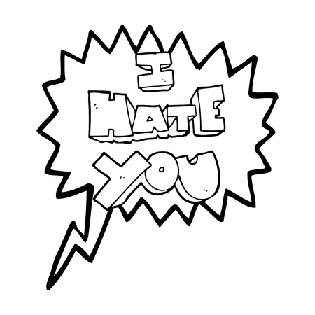 hate: I hate you freehand drawn speech bubble cartoon symbol