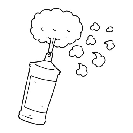 spraying: freehand drawn black and white cartoon spraying whipped cream