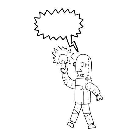 talking robot: freehand drawn speech bubble cartoon robot with light bulb
