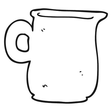 milk jug: freehand drawn black and white cartoon milk jug Illustration