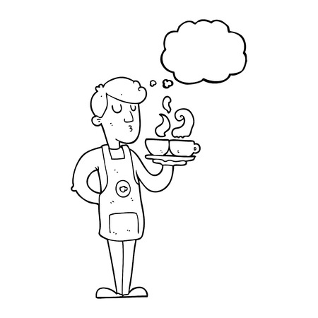 barista: freehand drawn thought bubble cartoon barista serving coffee
