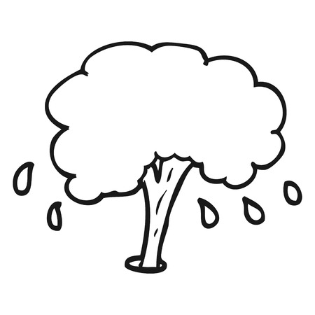 spurt: freehand drawn black and white cartoon water spout