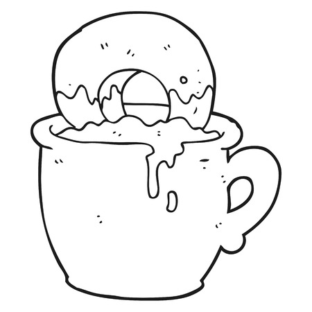 dunking: freehand drawn black and white cartoon donut dunked in coffee